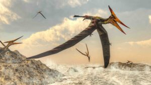 Pteranodon bird flying upon ocean - 3D render