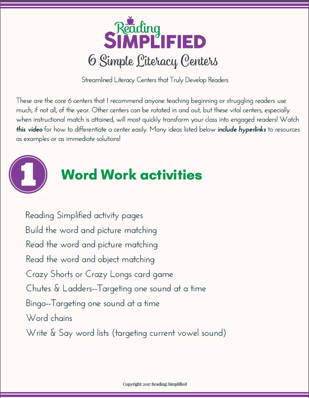 6 simple literacy centers guide