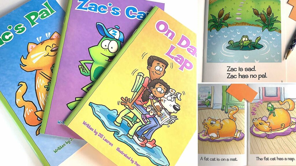 Whole Phonics review book covers and interior pages