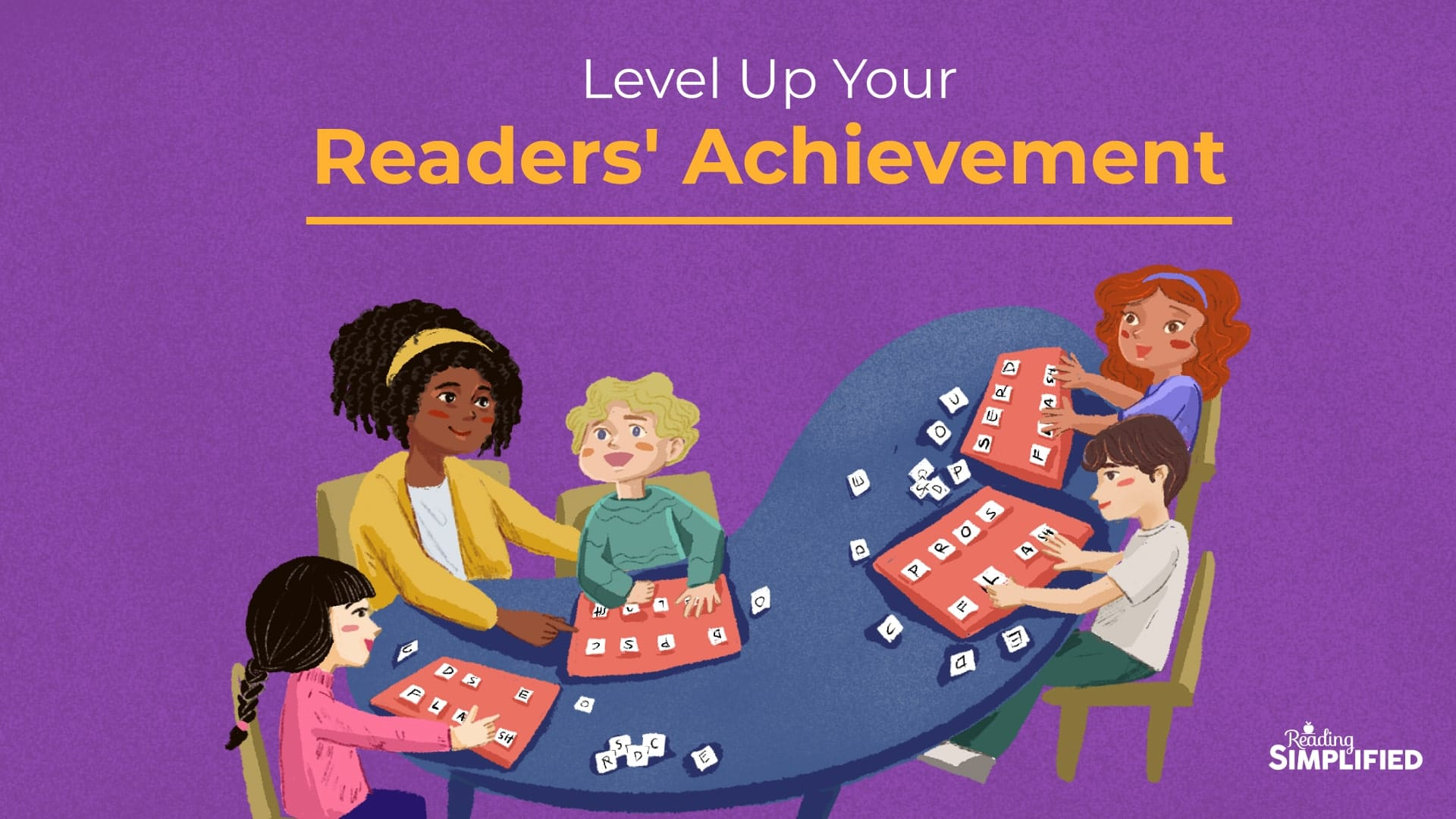 Level Up illustration of teacher working with 4 kids